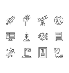 Cosmos research black line icons set vector