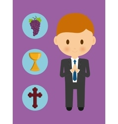 Cross cup grapes boy kid cartoon icon vector