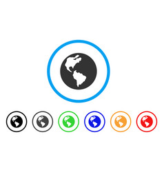 earth rounded icon vector image
