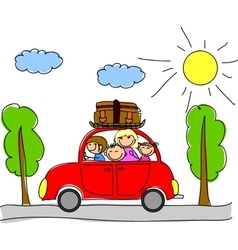 Family Car Drawing vector image vector image