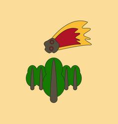 Flat icon stylish background falling meteorite vector