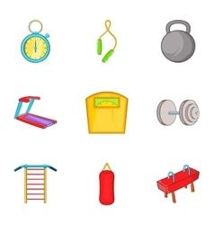 Gym icons set cartoon style vector image