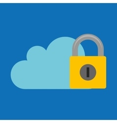 hand hold protected concept padlock cloud vector image vector image
