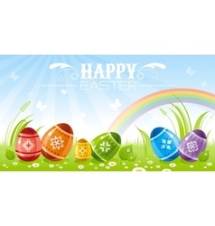 Happy Easter banner border Spring landscape - sky vector image