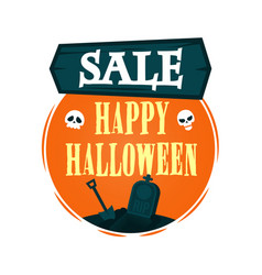 happy halloween sale offer design template vector image vector image