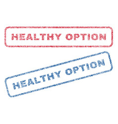 Healthy option textile stamps vector