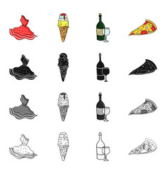 Italian dress dessert gelato a bottle of wine a vector