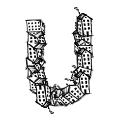 Letter U made from houses alphabet design vector image