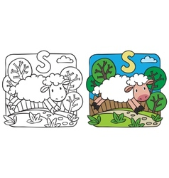 Little sheep coloring book alphabet s vector
