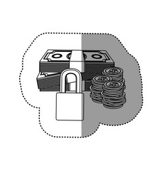 monochrome contour sticker of bills and coins with vector image