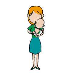 Mother holding baby infant motherhood innocence vector