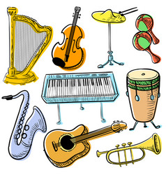 musical instruments doodle set cute line art vector image vector image