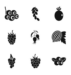 Natural berries icon set simple style vector