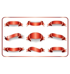 Red ribbons set on white 1 vector image vector image