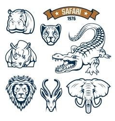 Safari hunting club animals icons set vector
