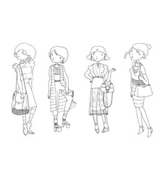 Set with hand drawn fashion girls in casual vector