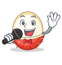 Singing rambutan mascot cartoon style vector