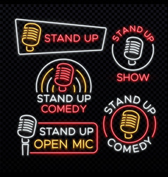 Stand up comedy bright neon signs vector
