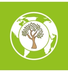 Symbol ecology tree global icon vector