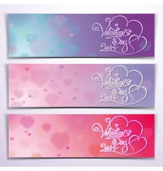 Three valentine 2014 banners purple pink vector