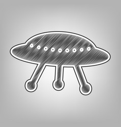 Ufo simple sign pencil sketch imitation vector