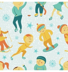 Winter Sports seamless pattern with children vector image vector image