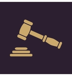 The judge or auction hammer icon justice symbol vector
