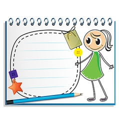 A notebook with a sketch of a girl with a green vector image