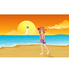 A fashionable young girl at the beach vector