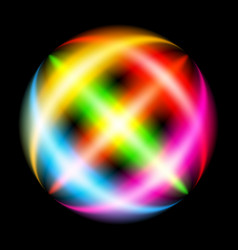 abstract rainbow ray sphere on black vector image