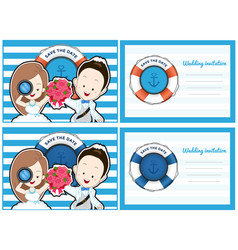 wedding card invitation in pirate and blue sea vector image