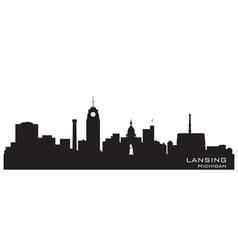 Lansing michigan skyline detailed silhouett vector
