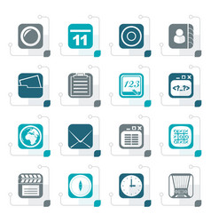 Stylized mobile phone and communication icons vector