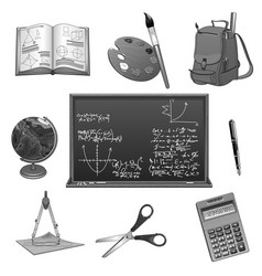 School study or education icons set vector