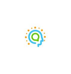 Information technology abstract logo head vector