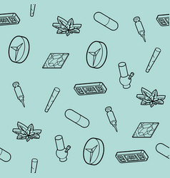 Drugs outline isometric icons pattern vector