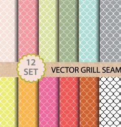 12 set grill seamless pattern vector