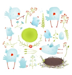 Cartoon fun and cute baby birds collection vector
