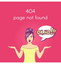 404 Page not found Web internet problem surprised vector image vector image