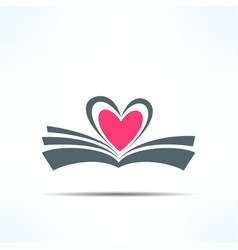 Book icon with heart made of pages love vector