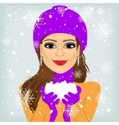 Woman holding snow vector