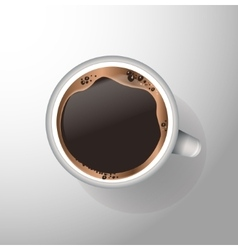 White mug of coffee with foam and sauce vector