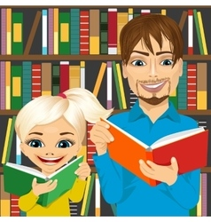 Father and his daughter reading books vector