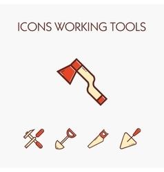 Icons worcking tools vector