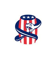 Viper Coiling Up Keg USA Flag Retro vector image