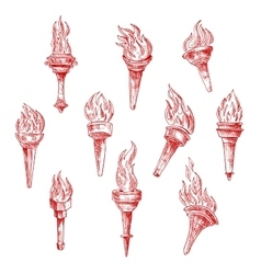 Ancient flaming torches red sketches vector