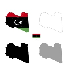 Libya country black silhouette and with flag on vector