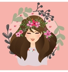 Beautiful girls woman with flower around her head vector