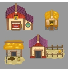 Set of rural buildings create your own cartoon vector