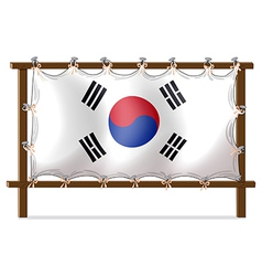 A wooden frame with the flag of korea vector